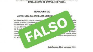Photo of Fake news: IFPB nega retorno às atividades e orienta estudantes