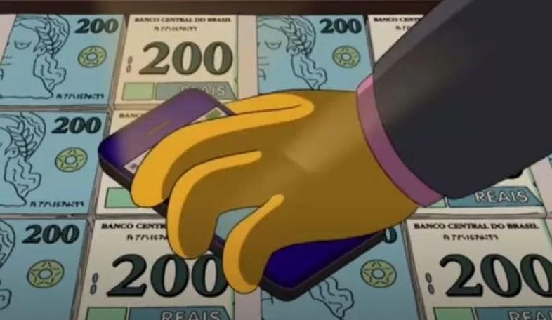 Nota de Duzentos Reais em episódio de 'Os Simpsons'. Imagem: Reprodução Internet