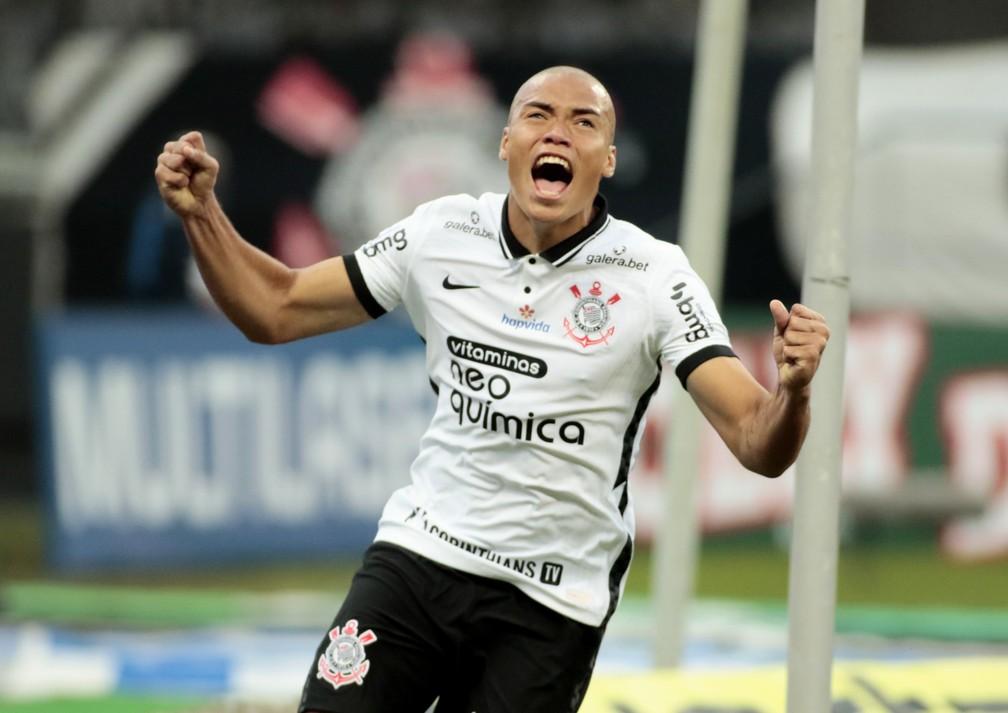 Luis Mandaca comemora seu primeiro gol pelo Timão. Imagem: Agência Corinthians