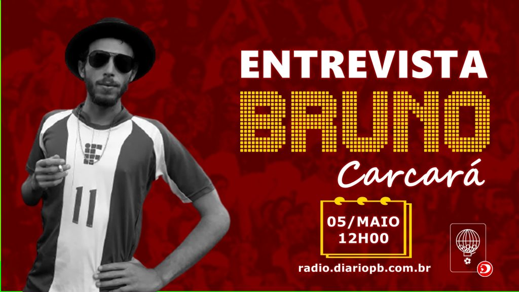 Bruno Carcará, primeiro entrevistado na programação especial de aniversário do Programa Rifando a Bola. Arte: Divulgação / Sistema DPB