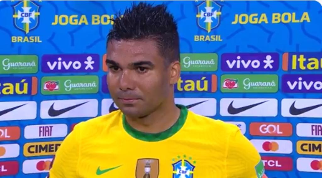 Casemiro, capitão da seleção brasileira. Imagem: Reprodução TV Globo
